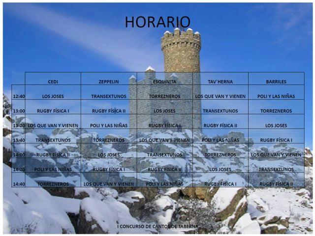 Horario Cantos de Taberna enTorrelodones - Sábado 21 de diciembre 2013