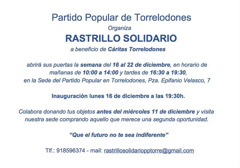 Rastrillo Solidario del PP en favor de Cáritas Torrelodones