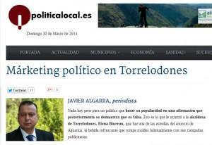 """""""Márketing político en Torrelodones"""", nota del periodista Javier Algarra en PoliticaLocal.es"""