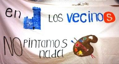 Pancarta de los pintores que se han quedado sin clases