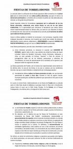 Propuesta de IU para unificar las Fiestas de Torrelodones