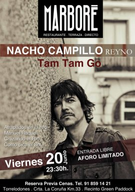 """Nacho Campillo del grupo """"Tam Tam Go"""" este viernes en Marboré Torrelodones"""