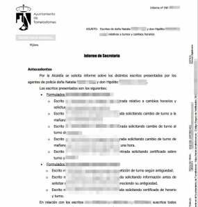 Primera parte del Informe de Secretaría, publicado con datos personales en la web municipal