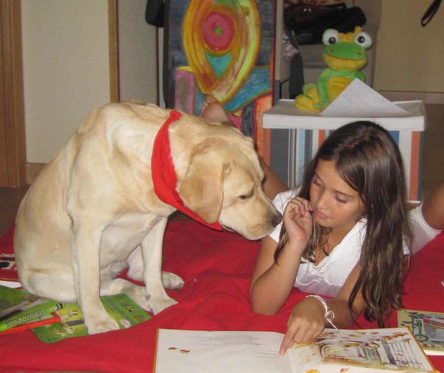 Lectura con perros para fomentar el hábito entre los niños de Galapagar