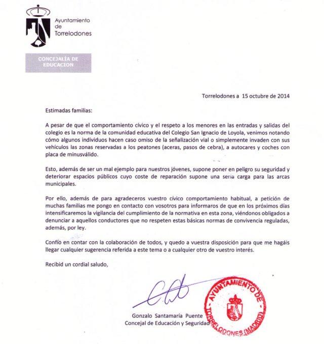 Carta del Ayuntamiento de Torrelodones amenazando con denuncias de tráfico a padres del Colegio San Ignacio