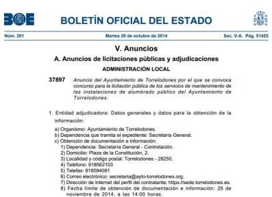 Licitación pública de los servicios de mantenimiento de las instalaciones de alumbrado público del Ayuntamiento de Torrelodones