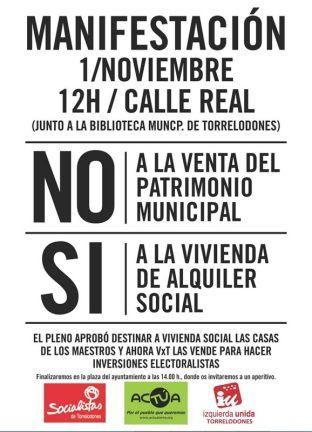 acTÚa convoca manifestación contra la venta de las casas de maestros de Torrelodones