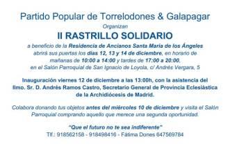 El PP de Torrelodones y Galapagar organizan Rastrillo Solidario en favor de Residencia de Mayores Santa María de Los Ángeles