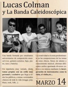 El sábado 14 de marzo a las 23:30 horas Lucas Colman y la Banda caleidoscópica en Marboré