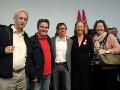 Teresa Díez (segunda por la derecha) junto con Ramón Marcos, candidato a la Presidencia de la Comunidad de Madrid, y una representación de afiliados de UPyD Torrelodones