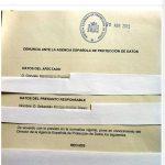 Email recibido con Denuncia AEPD