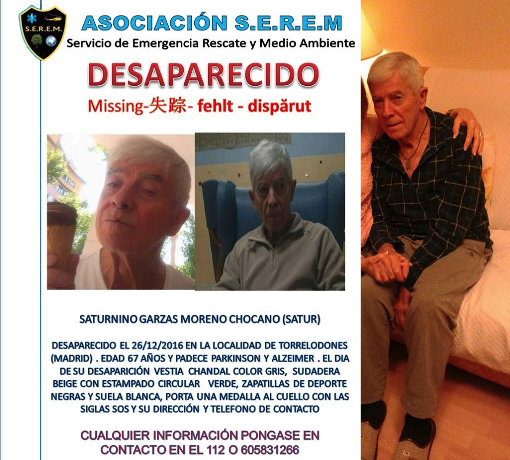 Saturnino Garzas, desaparecido en Torrelodones