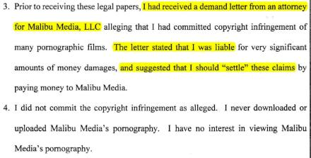 Malibu Media LLC settlement demand letter