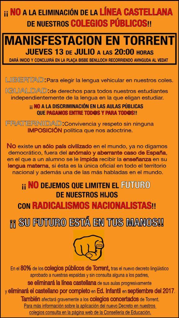 LOS PADRES DE TORRENT CONVOCAN UNA MANIFESTACION CONTRA LA DISCRIMINACION DEL CASTELLANO EN LAS AULAS