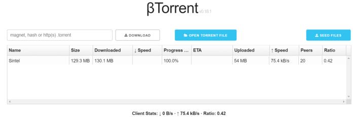 βTorrent screenshot