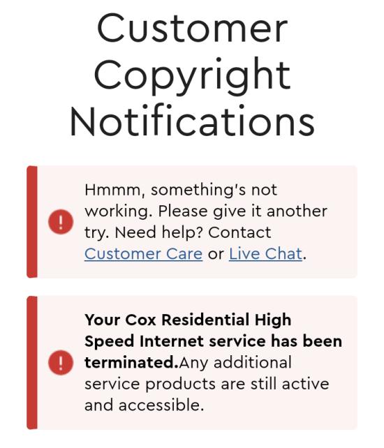 Cox Termination