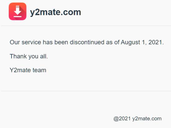 Y2Mate shutdown