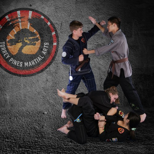 Photo of teenagers practicing kempo and jiu-jitsu.