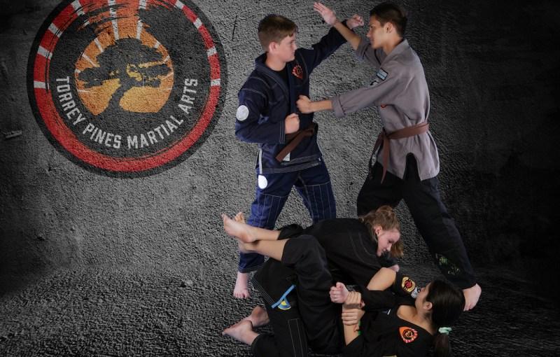 Photo of teenagers practicing kempo and jiu-jitsu.