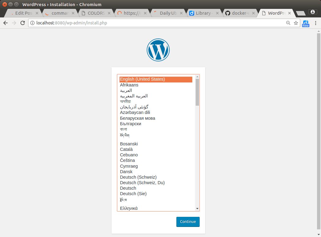 Initial WordPress install page