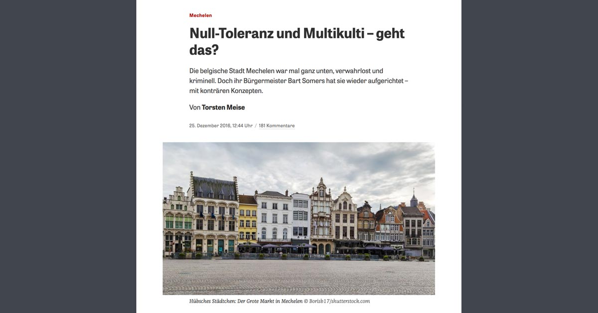 Null Toleranz und Multikulti – Artikel bei Zeit.de | Screenshot