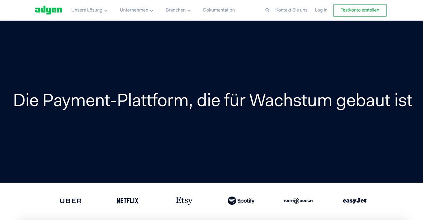 Adyen Homepage. Screenshot