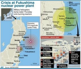 Graphic on the Fukushima 1 power plant.