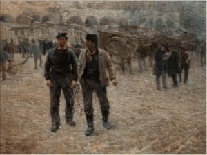 Piazza Caricamento di Plinio Nomellini. Il quadro più importante della collezione Il Divisionismo di Tortona.