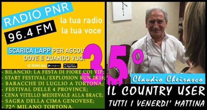 Claudio Cheirasco Il Country User di Radio PNR Tortona trentacinquesima puntata