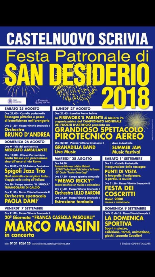 Il Programma della Festa Patronale di San Desiderio 2018