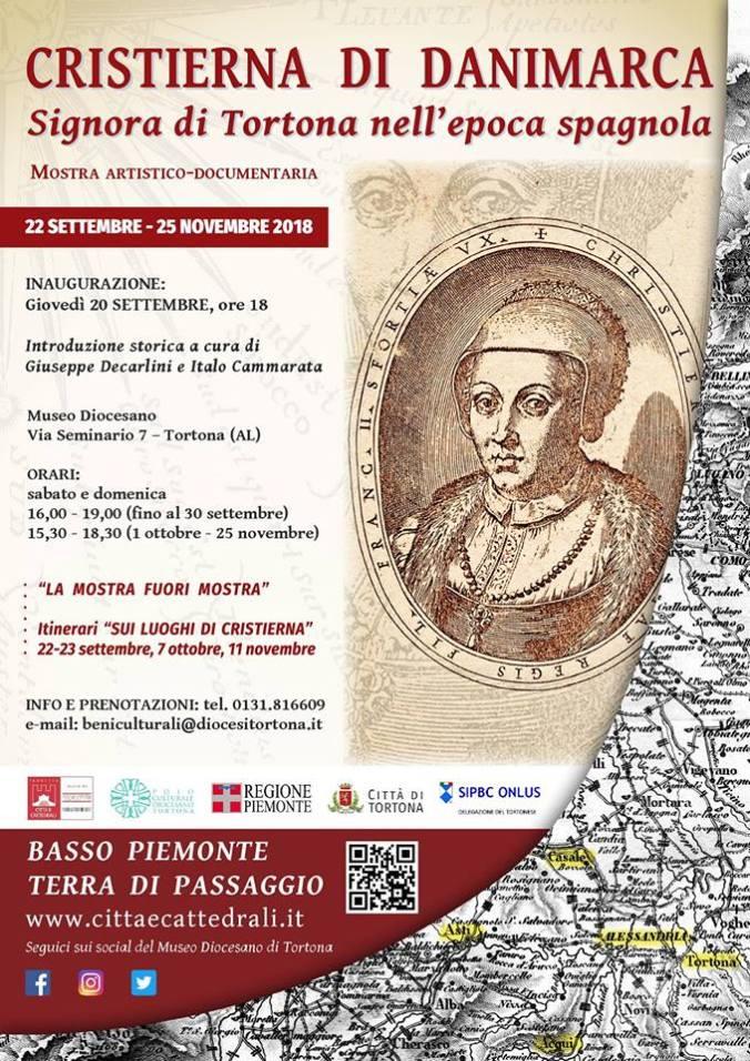 Programma della mostra su Cristierna di Danimarca a Tortona