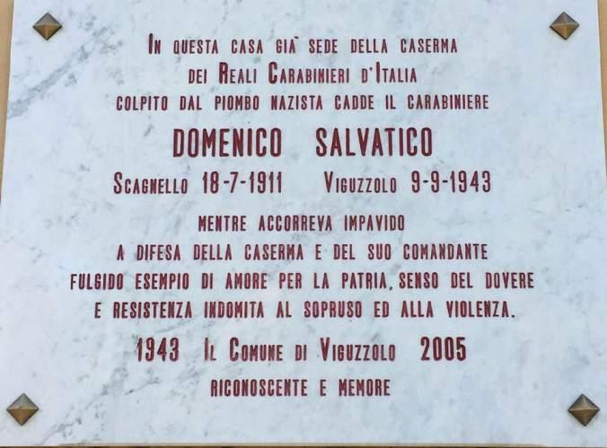 Lapide per Domenico Salvatico il carabiniere a Viguzzolo
