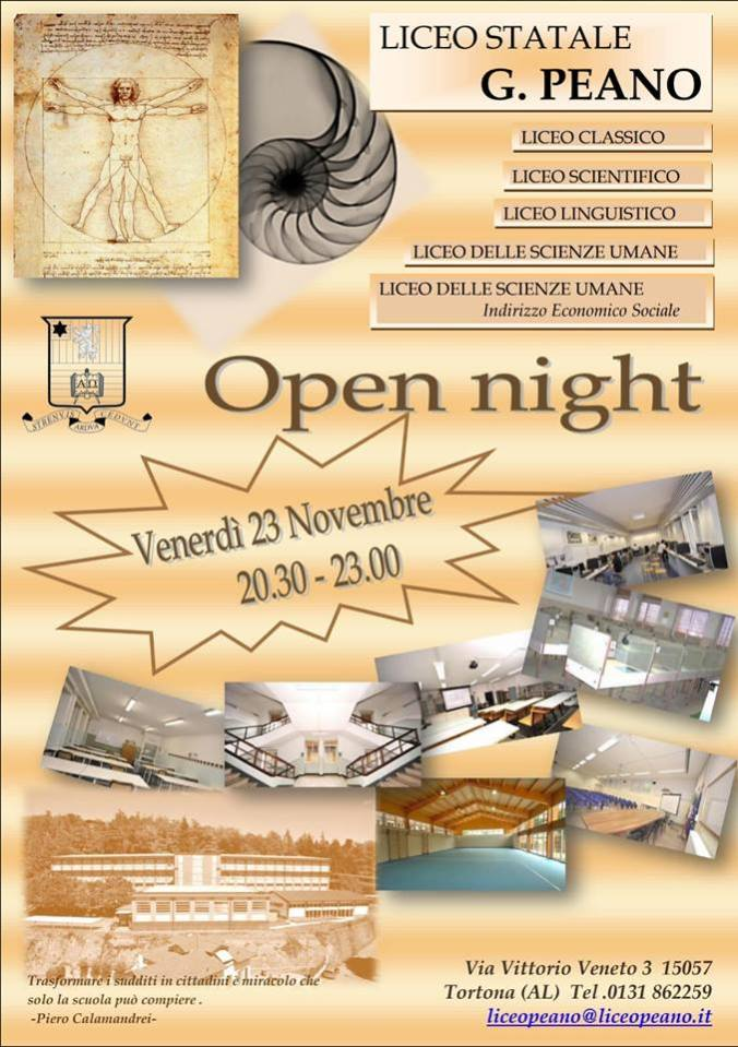 Locandina Open Night 2018 Liceo Peano Tortona