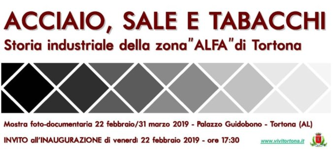 Invito all'inaugurazione della mostra sull'area Alfa di Tortona