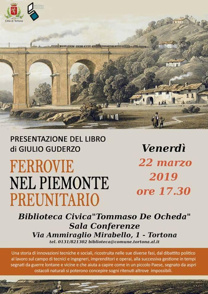 """Locandina presentazione del volume """"Ferrovie nel Piemonte preunitaio"""" del prof. Giulio Guderzo"""
