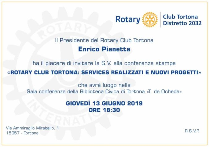 Invito conferenza stampa Rotary Club