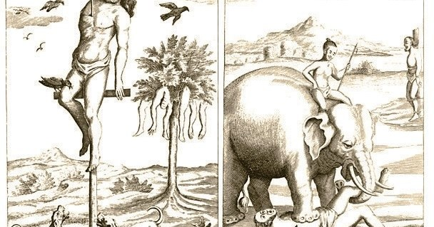 Graphical illustrations appeared in the original book of Knox published in 1681 depicting appalling nature of capital  punishments