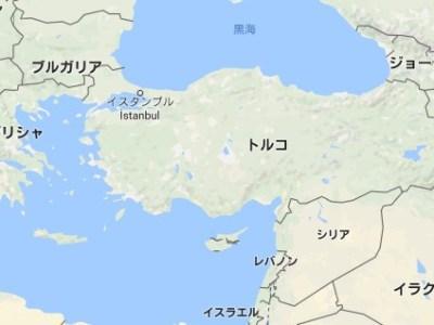 トルコが海に囲まれている様子を表す画像