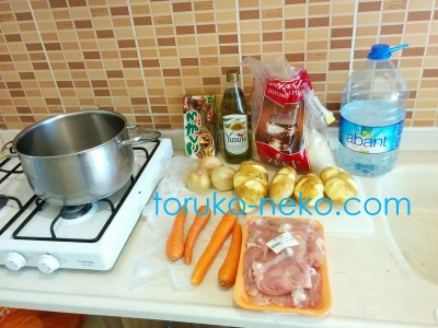 カレーライスに必要な食材 じゃがいも 人参 鶏肉 カレールー 水 オリーブオイル お米 が鍋の横においてあり、キッチン流しに写っている画像 写真トルコ イスタンブール ガスコンロ