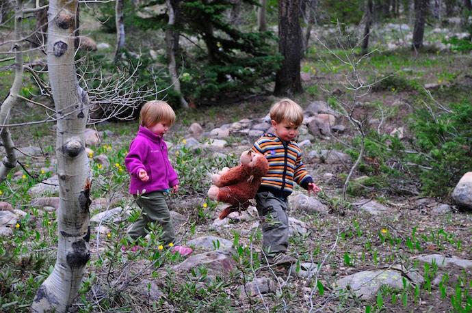 Sophia, Tory, and Monty on a trek