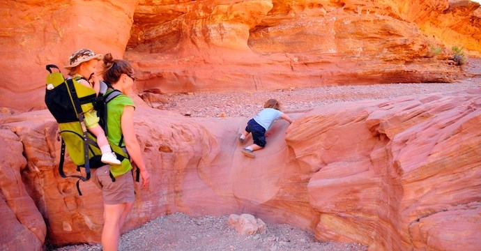 Scrambling up in Little Wild Horse Canyon