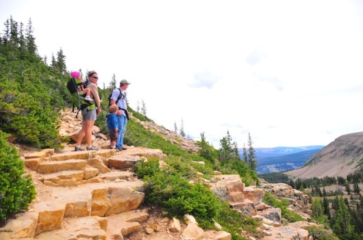 Marcus, Kari, Tory, and Tegan look out over the Uintas.