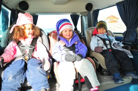 Lilli, Soph, and Tory loaded up in the Vanagon.