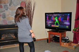 Tracy Wii Zumbas. Way harder than it looks. Get those hips out Trace!