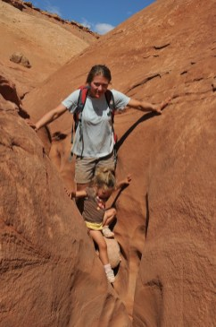 Kari and Tegan down climb Lucky Charms.