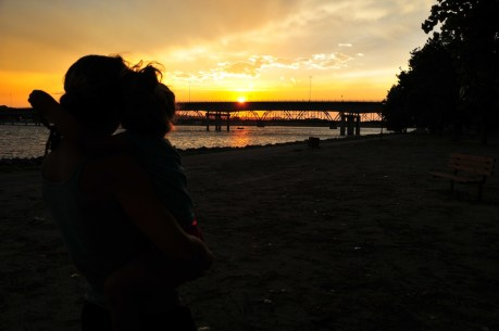 Kari and Tegan sunset in Pierre South Dakota