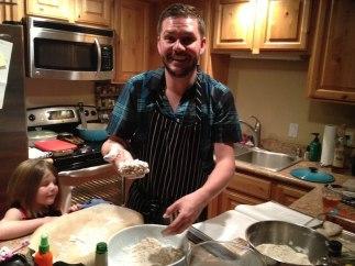 Sam cooking Christmas dinner