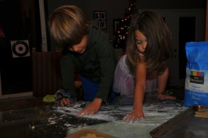 Spreading some flour. Don't want it to stick!