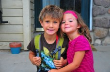 Tory and Tegan, ready for school