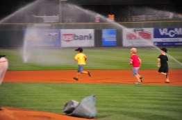 Dodging the sprinklers. Not really.